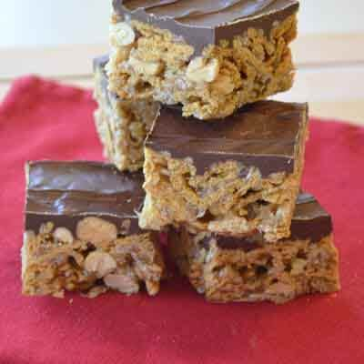 Chocolate-Topped Crunchy Cereal Bars Image