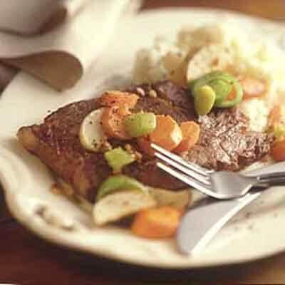 Garlic Pepper Steak With Root Vegetables Image