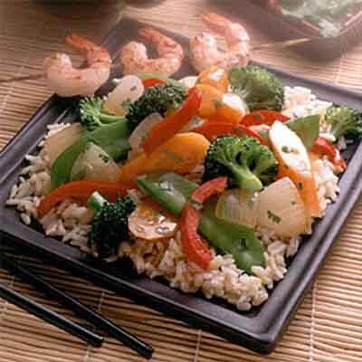 Gingered Vegetables Over Brown Rice Image