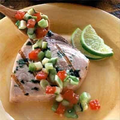 Grilled Swordfish With Fresh Vegetable Salsa Image