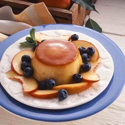 Orange Blueberry Flan With Peaches Image