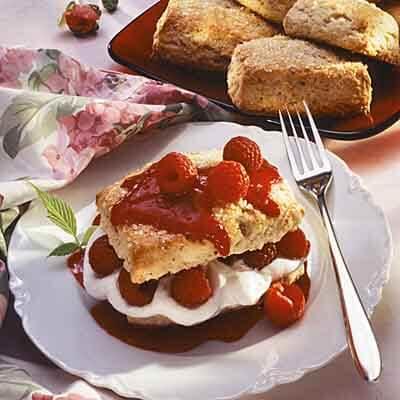 Hazelnut Shortcake With Raspberries Image