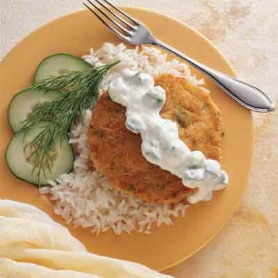 Crab Cakes & Rice With Cucumber Sauce Image