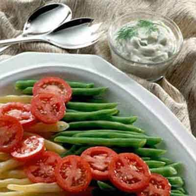 Fresh Beans & Tomatoes With Dill Cream Image