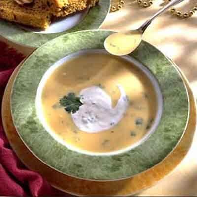 Yellow Squash Soup With Cilantro Sour Cream Image