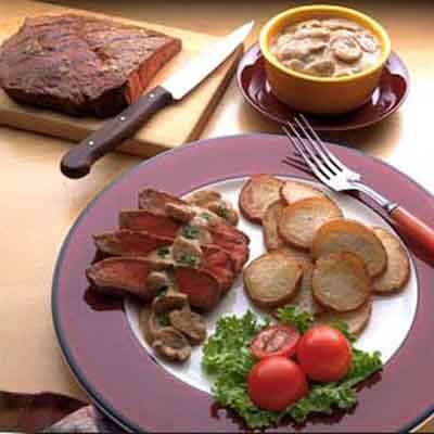 Steak With Mustard Herb Sauce Image