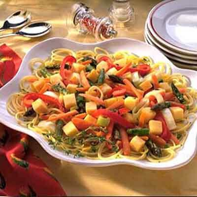 lemon thyme roasted vegetables with pasta