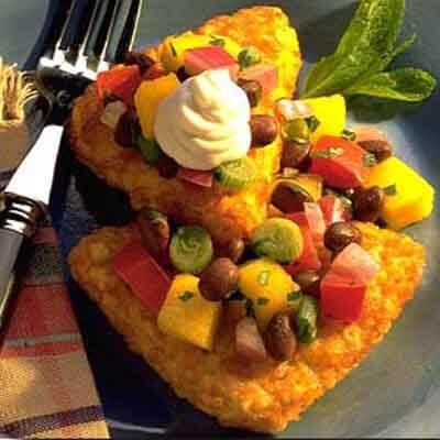 Potato Patties With Black Bean & Mango Salsa Image