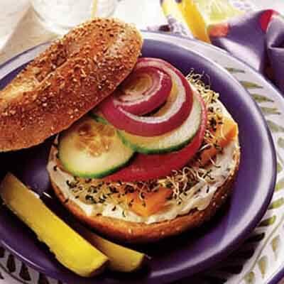 Vegetable & Cheese Bagel Sandwich Image