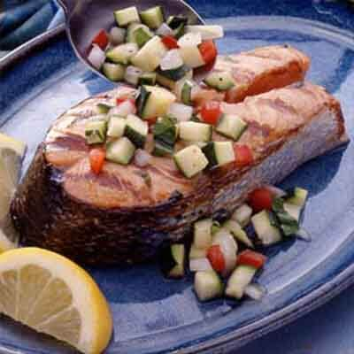 grilled salmon with zucchini relish