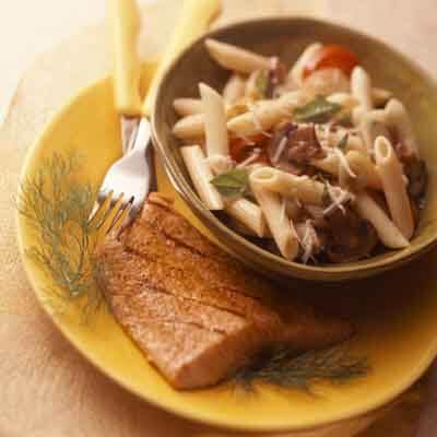 Grilled Cajun Salmon With Vegetable Mostaccioli Image