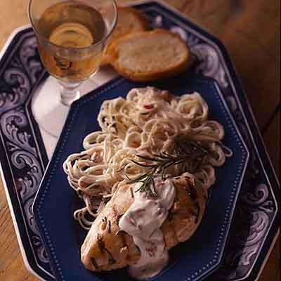Rosemary Chicken On  Creamy Pasta Image