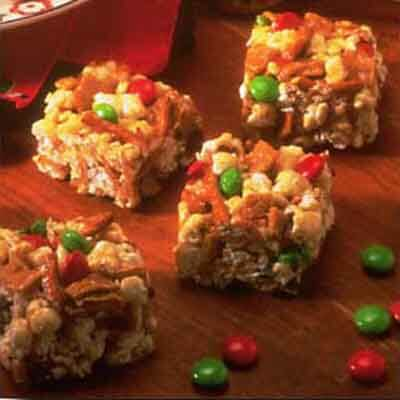 Chewy Caramel Candy Popcorn Squares
