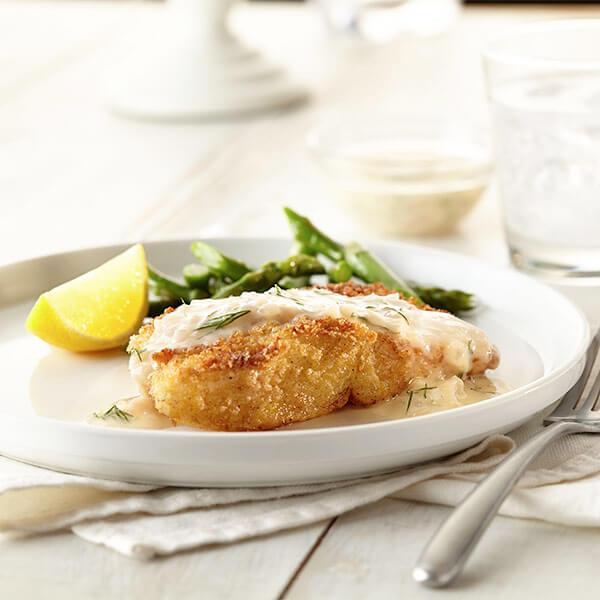 Crispy Fish With Lemon Dill Sauce Image