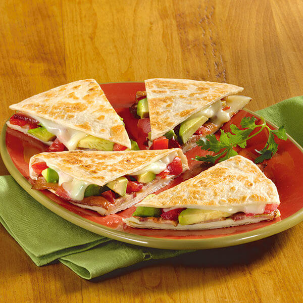 Bacon, Tomato Avocado Quesadillas