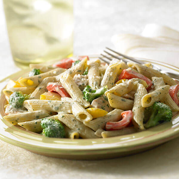 Creamy Basil Pasta With Chicken & Vegetables Image