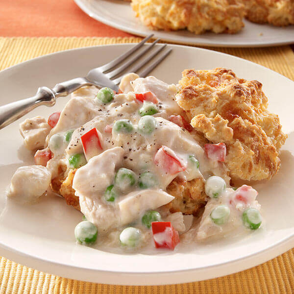 Creamy Turkey Over Cheesy Biscuits Image