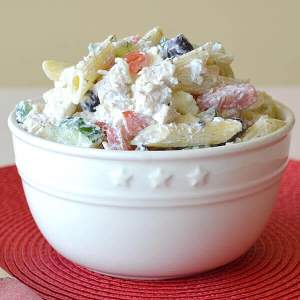 Creamy Greek Chicken Pasta Salad Image