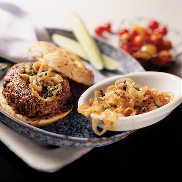 Grilled Caramelized Onion Burgers Image