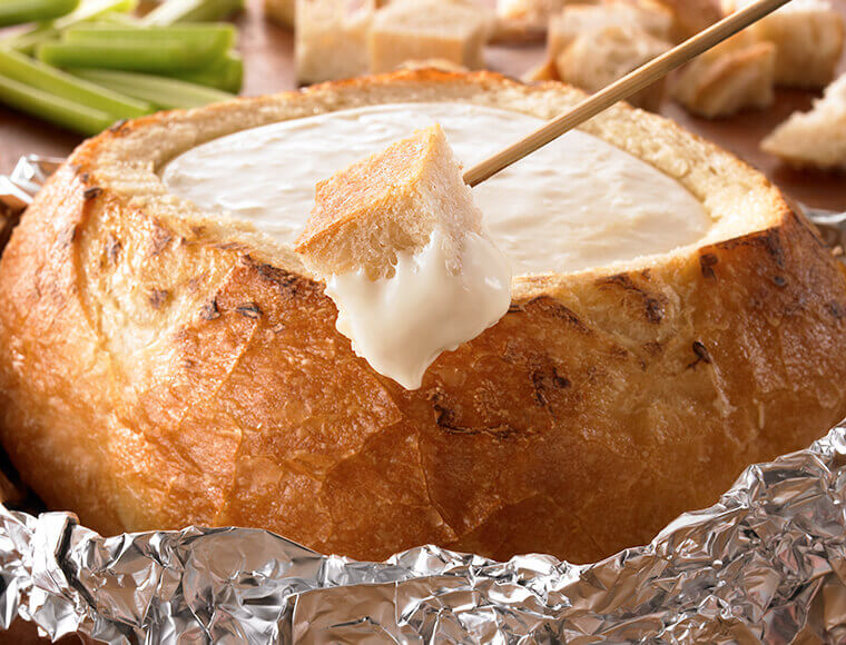 Grilled 3 Cheese Fondue Bread Bowl Recipe Land O Lakes