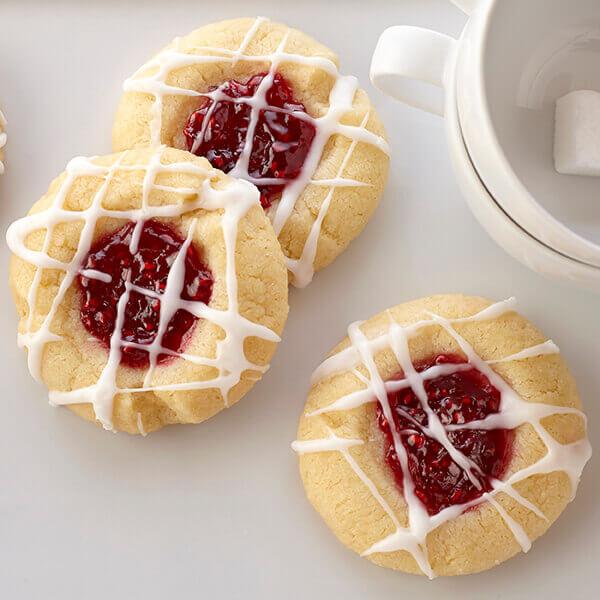 Raspberry Almond Shortbread Thumbprints
