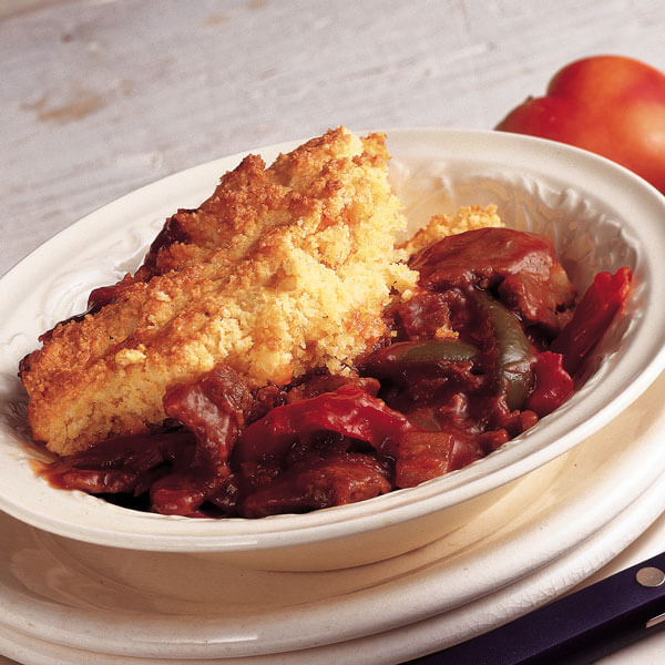 Barbecue Beef With Cornbread Topping recipe