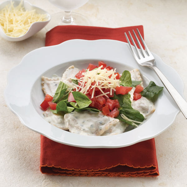 Squash Ravioli with Pesto Cream recipe