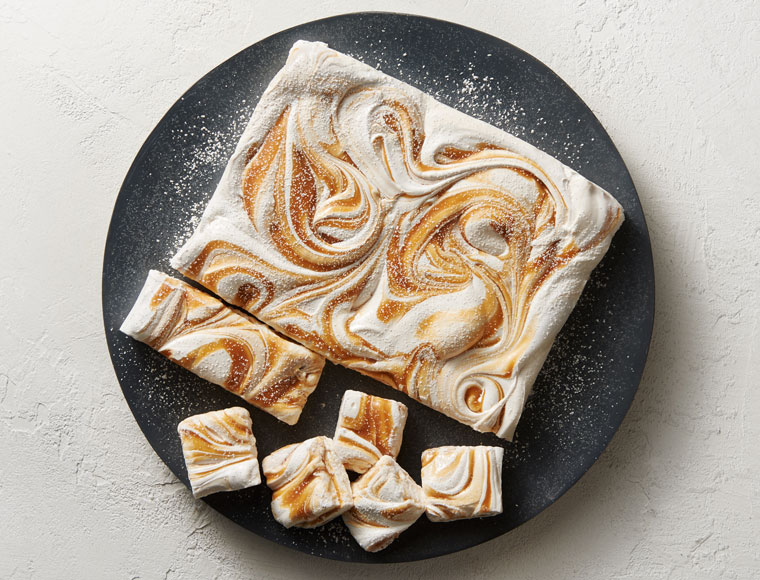 marshmallows with caramel swirl on plate