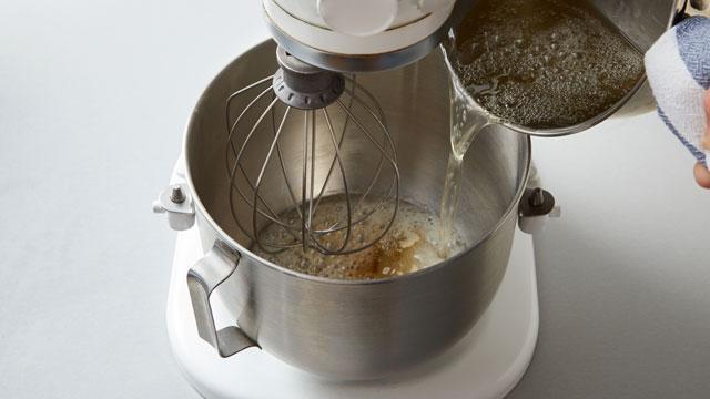 Sugar Syrup into Mixer