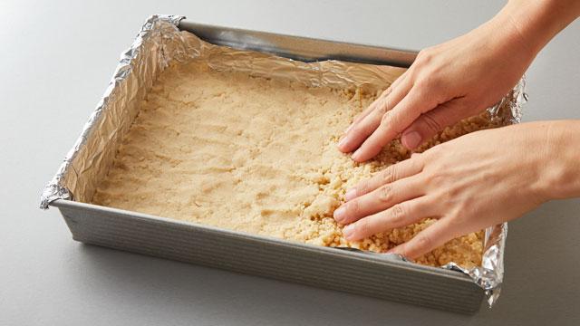 Pressing Crust into Pan