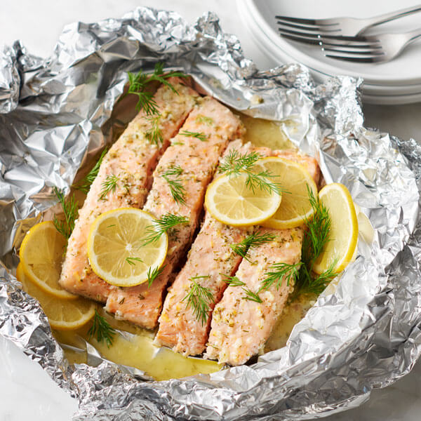 Lemon & Dill Compound Butter Grilled Salmon recipe