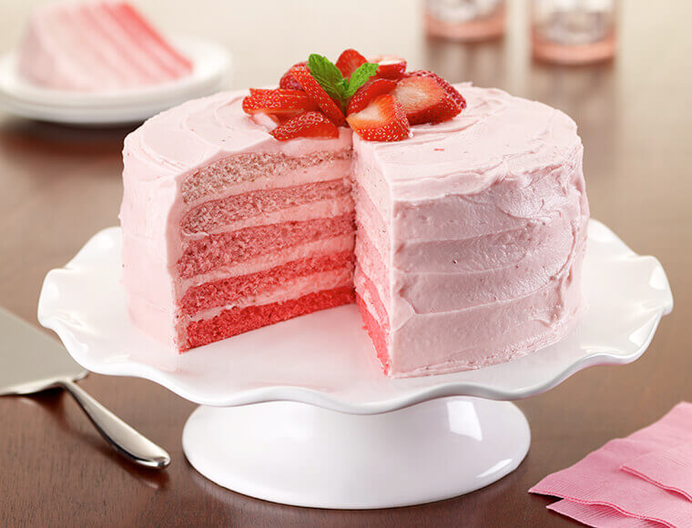 Peachy Strawberry Ombre Cake Recipe Land Olakes Funny Birthday Cards Online Overcheapnameinfo
